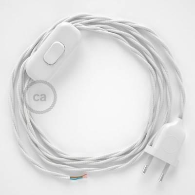 Cableado para lámpara, cable TC01 Algodón Blanco 1,8m. Elige tu el color de la clavija y del interruptor!