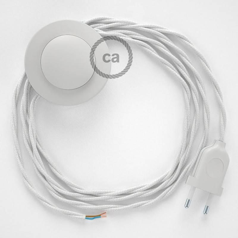 Cableado para lámpara de pie, cable TC01 Algodón Blanco 3 m. Elige tu el color de la clavija y del interruptor!