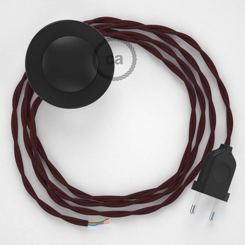 Cableado para lámpara de pie, cable TM19 Efecto Seda Burdeos 3 m. Elige tu el color de la clavija y del interruptor!
