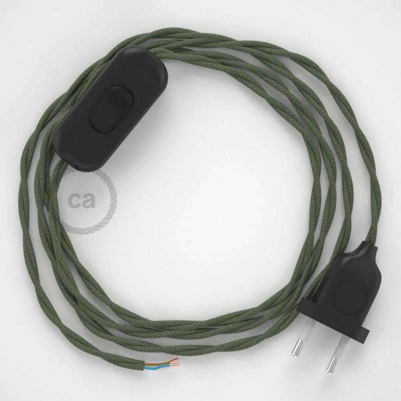Cableado para lámpara, cable TC63 Algodón Verde Gris 1,8m. Elige tu el color de la clavija y del interruptor!