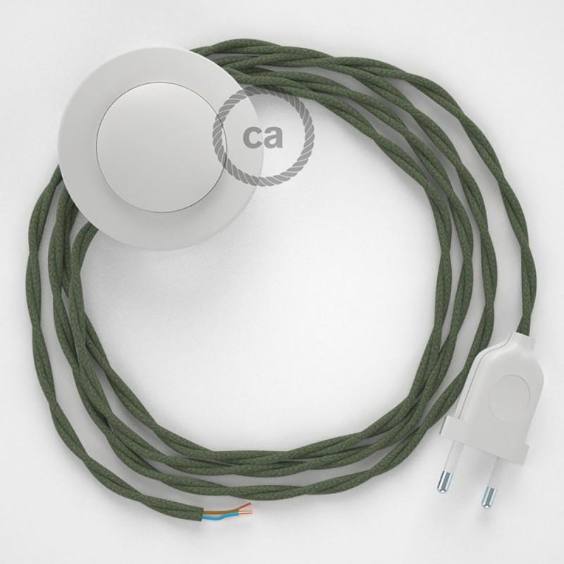 Cableado para lámpara de pie, cable TC63 Algodón Verde Gris 3 m. Elige tu el color de la clavija y del interruptor!