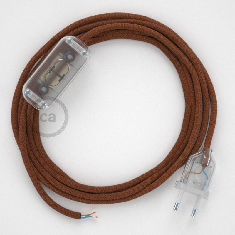 Cableado para lámpara, cable RC23 Algodón Ciervo 1,8m. Elige tu el color de la clavija y del interruptor!