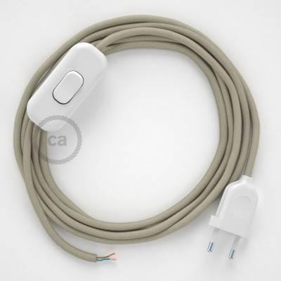 Cableado para lámpara, cable RC43 Algodón Gris Pardo 1,8m. Elige tu el color de la clavija y del interruptor!