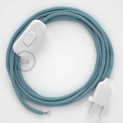 Cableado para lámpara, cable RC53 Algodón Oceano 1,8m. Elige tu el color de la clavija y del interruptor!