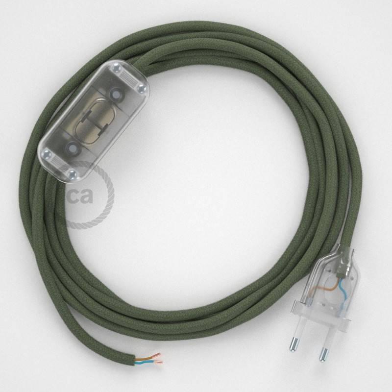 Cableado para lámpara, cable RC63 Algodón Verde Gris 1,8m. Elige tu el color de la clavija y del interruptor!