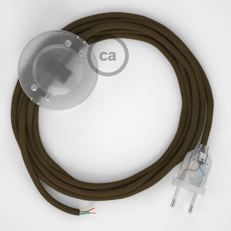 Cableado para lámpara de pie, cable RC13 Algodón Marrón 3 m. Elige tu el color de la clavija y del interruptor!