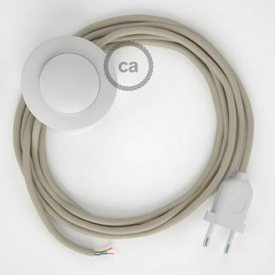 Cableado para lámpara de pie, cable RC43 Algodón Gris Pardo 3 m. Elige tu el color de la clavija y del interruptor!