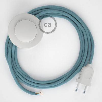 Cableado para lámpara de pie, cable RC53 Algodón Oceano 3 m. Elige tu el color de la clavija y del interruptor!