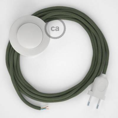 Cableado para lámpara de pie, cable RC63 Algodón Verde Gris 3 m. Elige tu el color de la clavija y del interruptor!