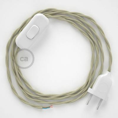 Cableado para lámpara, cable TC43 Algodón Gris Pardo 1,8m. Elige tu el color de la clavija y del interruptor!