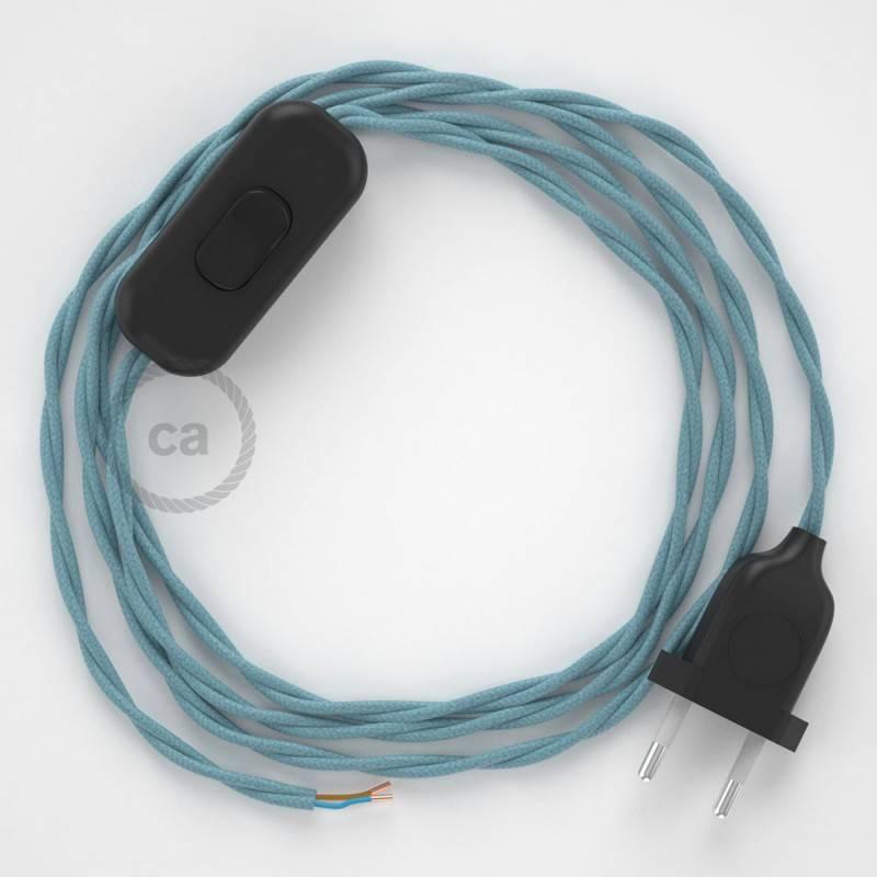 Cableado para lámpara, cable TC53 Algodón Oceano 1,8m. Elige tu el color de la clavija y del interruptor!