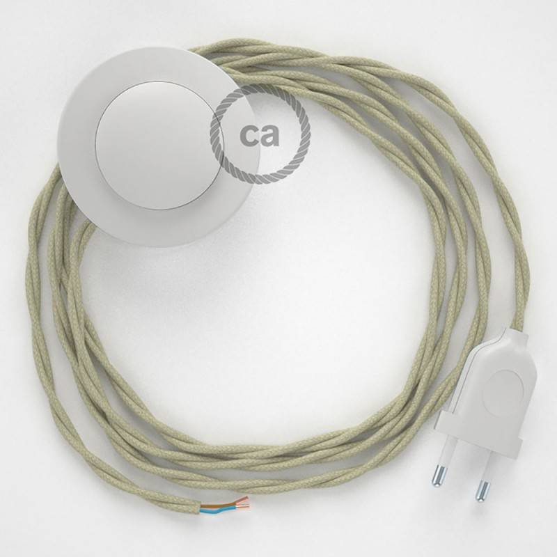 Cableado para lámpara de pie, cable TC43 Algodón Gris Pardo 3 m. Elige tu el color de la clavija y del interruptor!