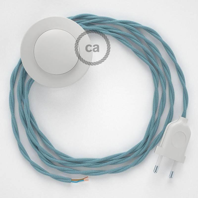 Cableado para lámpara de pie, cable TC53 Algodón Oceano 3 m. Elige tu el color de la clavija y del interruptor!