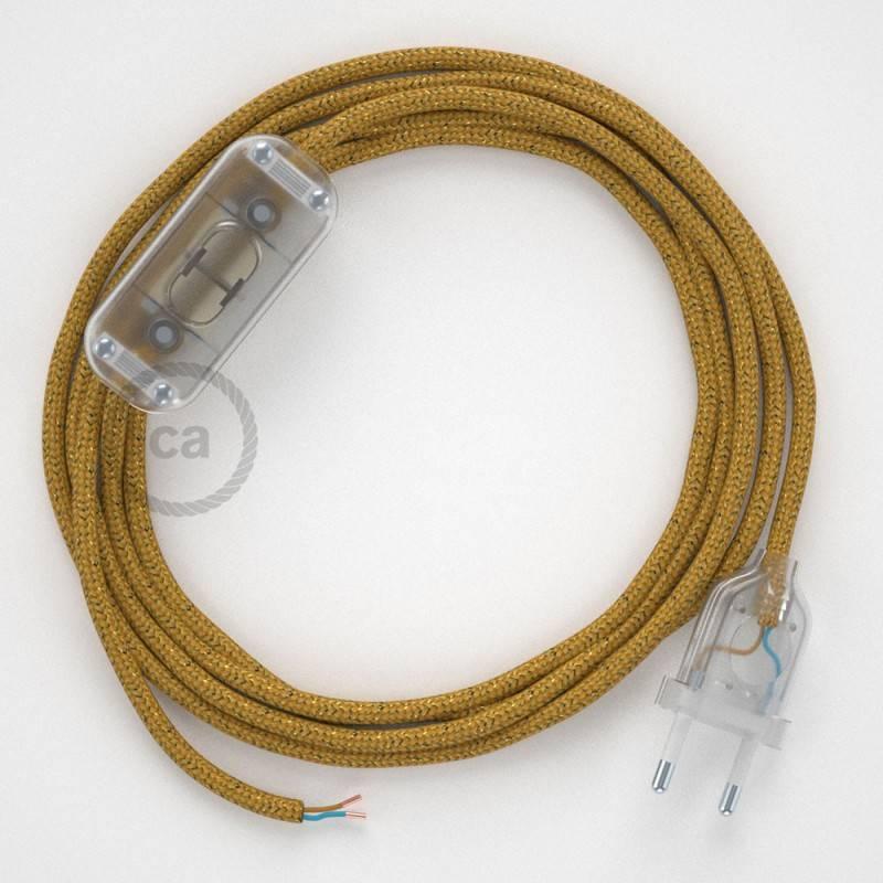 Cableado para lámpara, cable RL05 Efecto Seda Glitter Dorado 1,8m. Elige tu el color de la clavija y del interruptor!