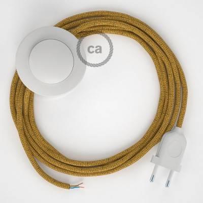 Cableado para lámpara de pie, cable RL05 Efecto Seda Glitter Dorado 3 m. Elige tu el color de la clavija y del interruptor!