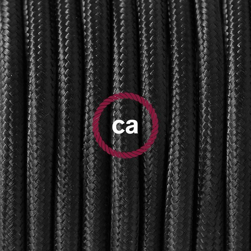 Pendel único, lámpara colgante cable textil Negro en tejido Efecto Seda RM04