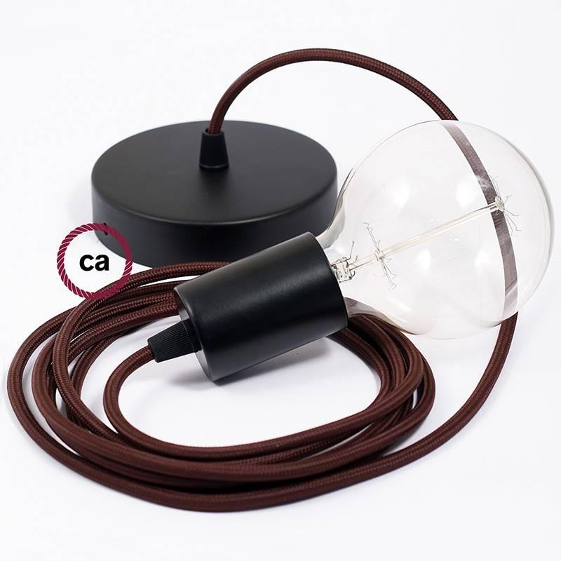 Pendel único, lámpara colgante cable textil Marrón en tejido Efecto Seda RM13
