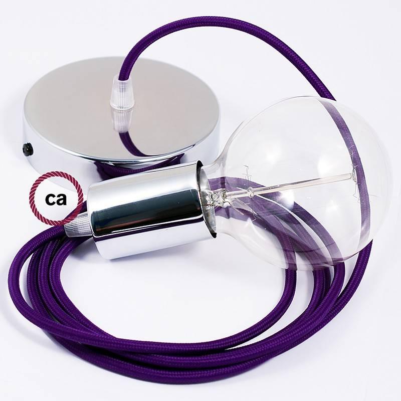 Pendel único, lámpara colgante cable textil Púrpura en tejido Efecto Seda RM14