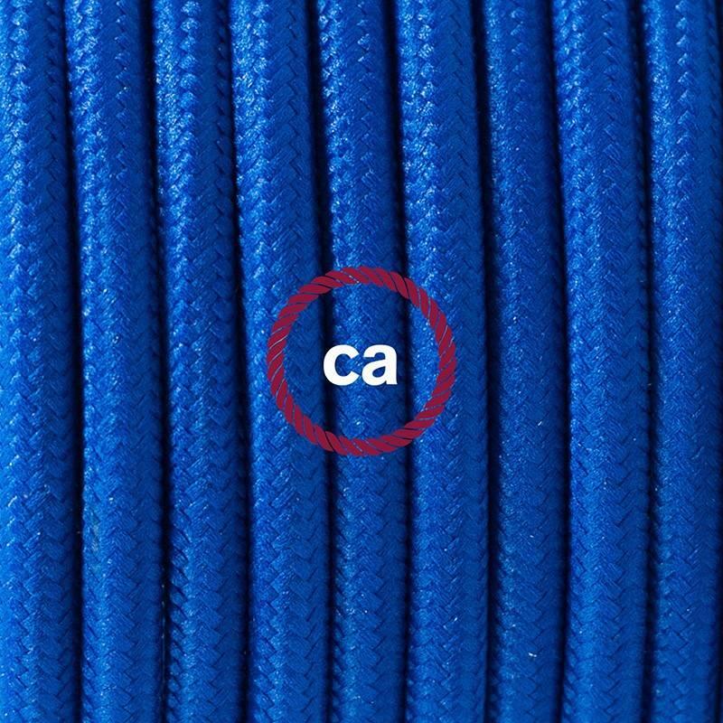 Pendel único, lámpara colgante cable textil Azul en tejido Efecto Seda RM12