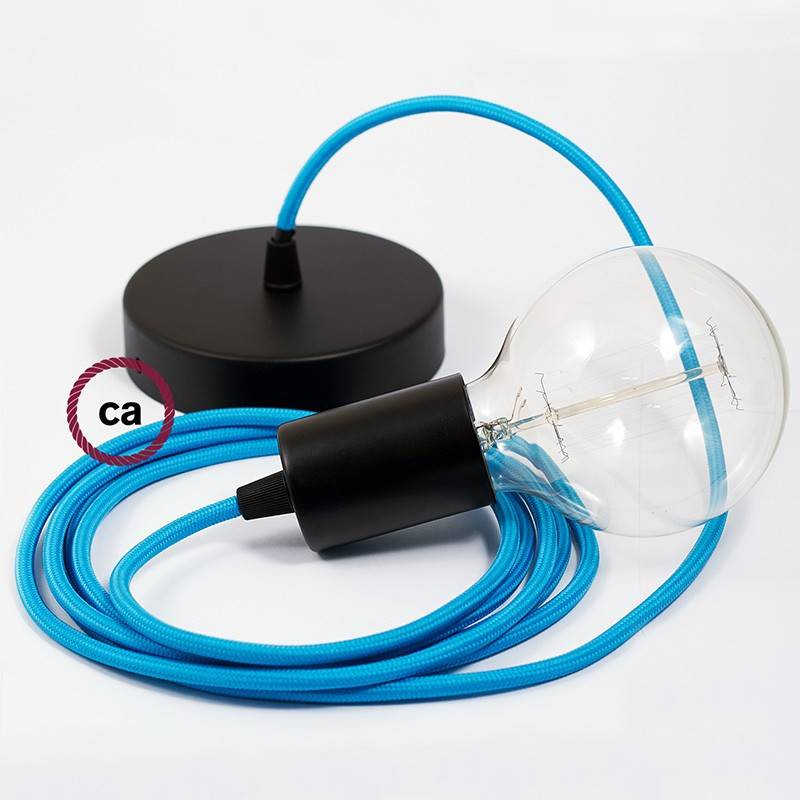 Pendel único, lámpara colgante cable textil Turquesa en tejido Efecto Seda RM11