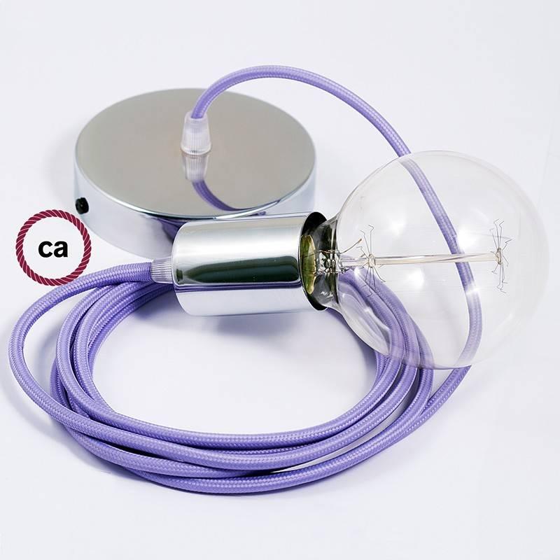 Pendel único, lámpara colgante cable textil Lila en tejido Efecto Seda RM07