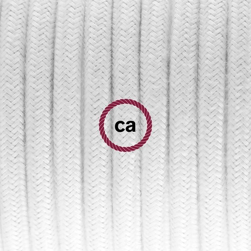 Pendel único, lámpara colgante cable textil Blanco en Algodón RC01