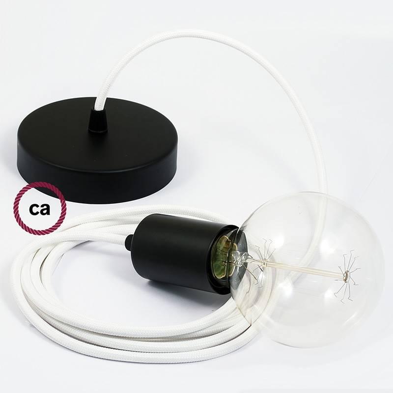 Pendel único, lámpara colgante cable textil Blanco en tejido Efecto Seda RM01