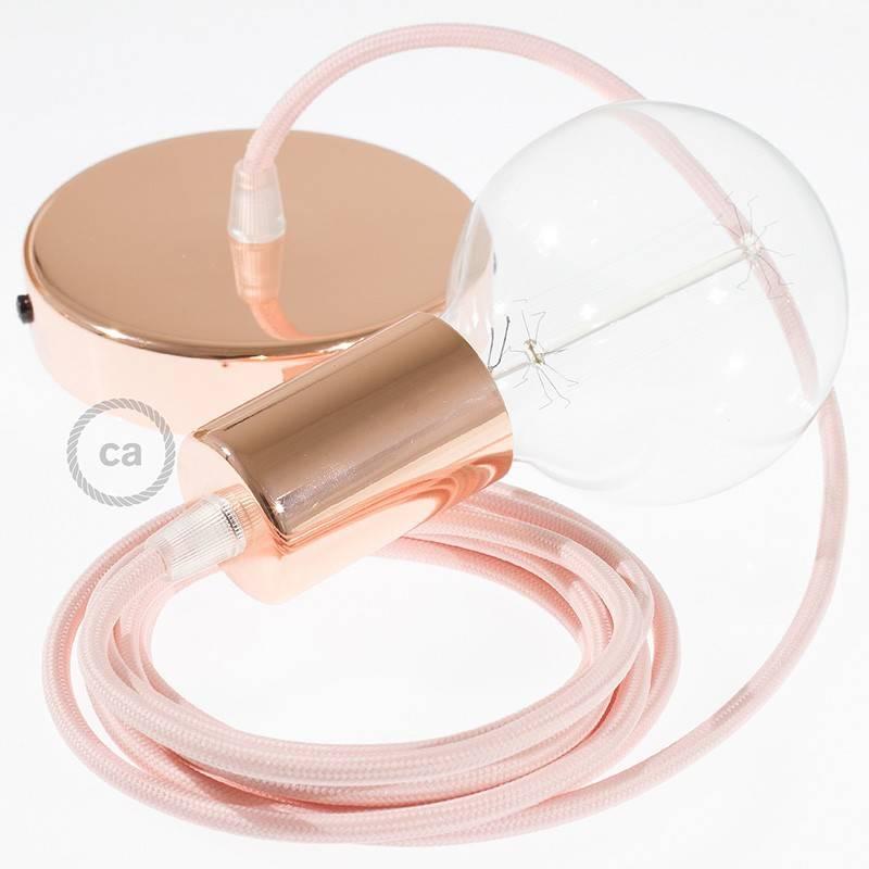 Pendel único, lámpara colgante cable textil Rosa Baby en tejido Efecto Seda RM16