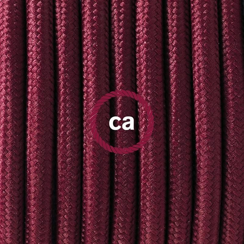 Pendel único, lámpara colgante cable textil Bordeos en tejido Efecto Seda RM19