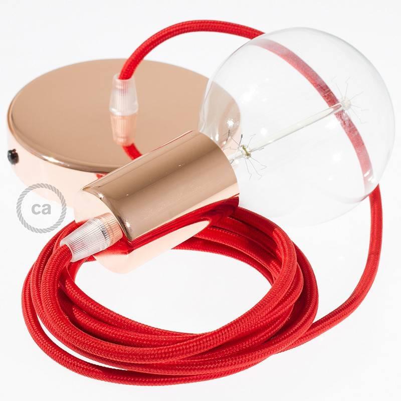 Pendel único, lámpara colgante cable textil Rojo en tejido Efecto Seda RM09