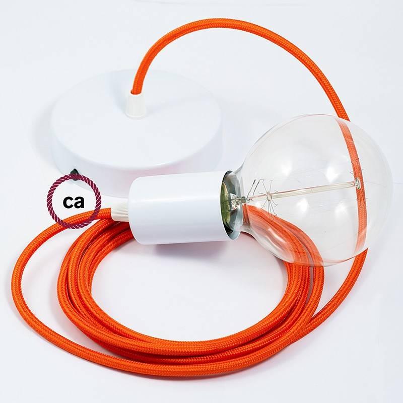 Pendel único, lámpara colgante cable textil Naranja en tejido Efecto Seda RM15