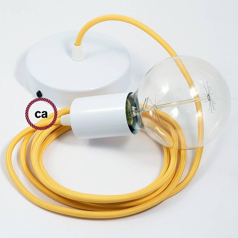 Pendel único, lámpara colgante cable textil Amarillo en tejido Efecto Seda RM10