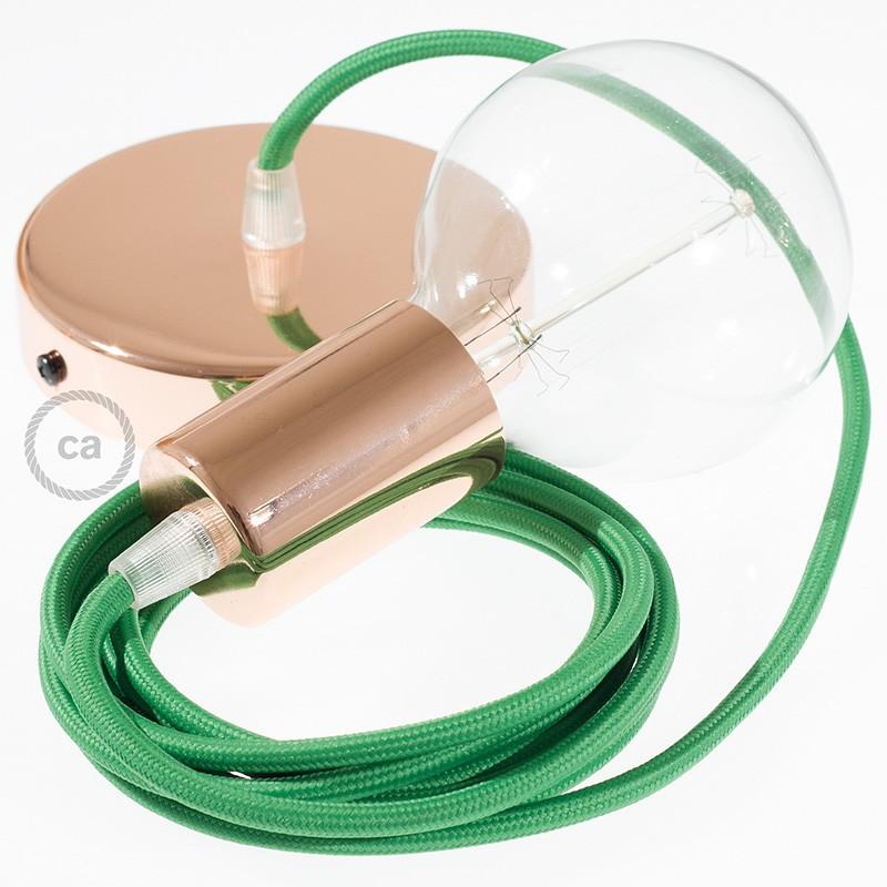 Pendel único, lámpara colgante cable textil Verde en tejido Efecto Seda RM06