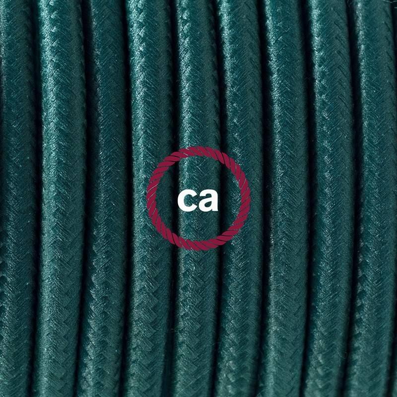 Pendel único, lámpara colgante cable textil Verde Oscuro en tejido Efecto Seda RM21