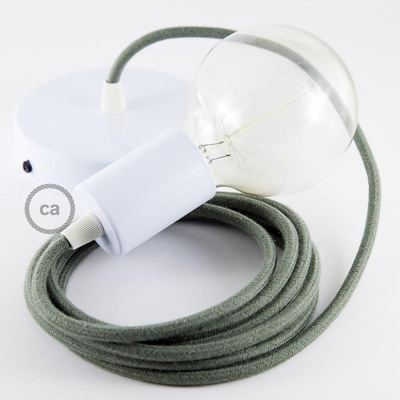 Pendel único, lámpara colgante cable textil Gris Verde en Algodón RC63