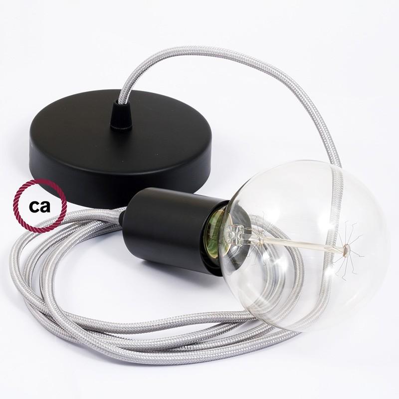 Pendel único, lámpara colgante cable textil Plateado en tejido Efecto Seda RM02