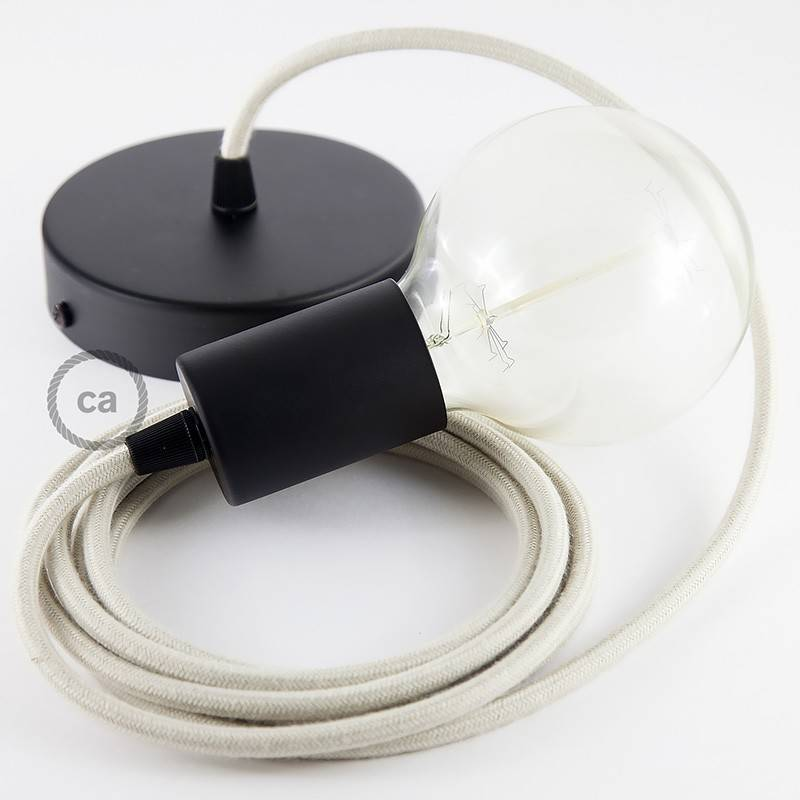 Pendel único, lámpara colgante cable textil Gris pardo en Algodón RC43