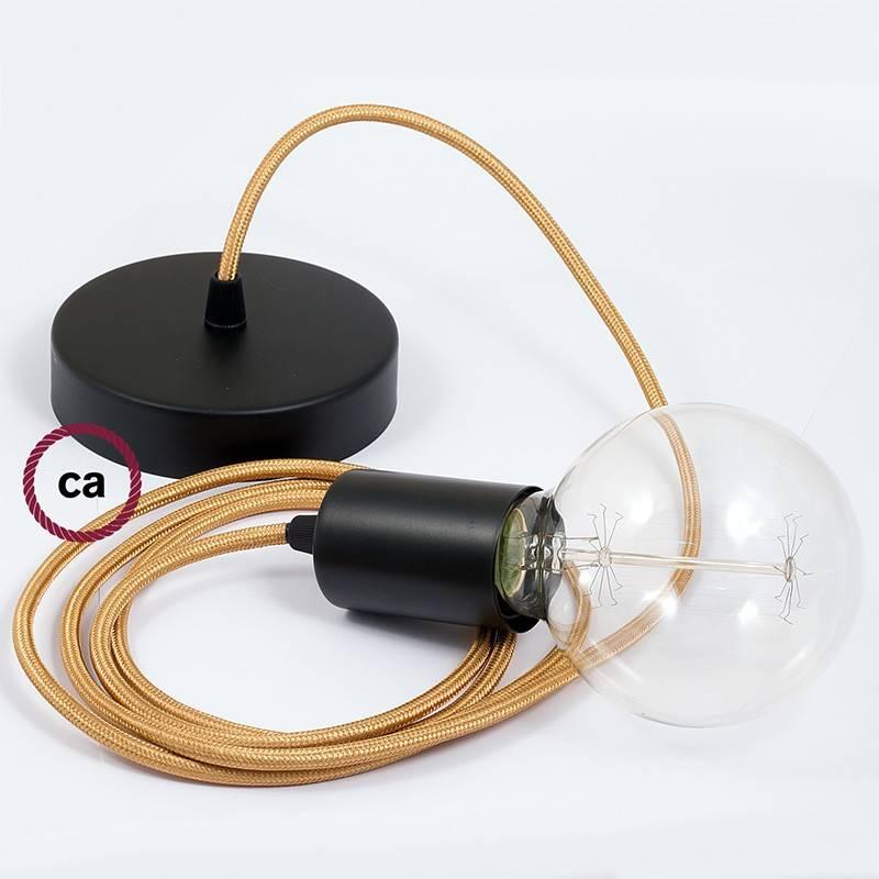 Pendel único, lámpara colgante cable textil Dorado en tejido Efecto Seda RM05