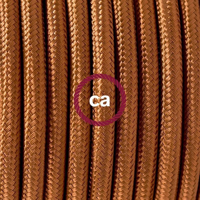 Pendel único, lámpara colgante cable textil Whiskey en tejido Efecto Seda RM22