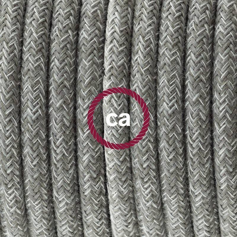 Pendel singolo, lampada sopensione cavo tessile Lino Naturale Grigio RN02