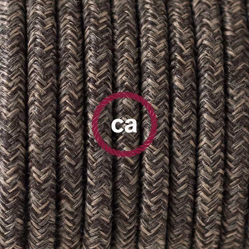 Pendel único, lámpara colgante cable textil Marrón en Lino Natural RN04