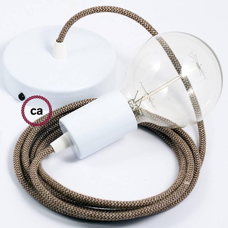 Pendel único, lámpara colgante cable textil ZigZag Corteza RD73