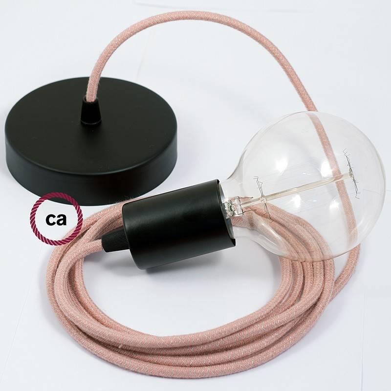 Pendel único, lámpara colgante cable textil ZigZag Rosa Antico RD71