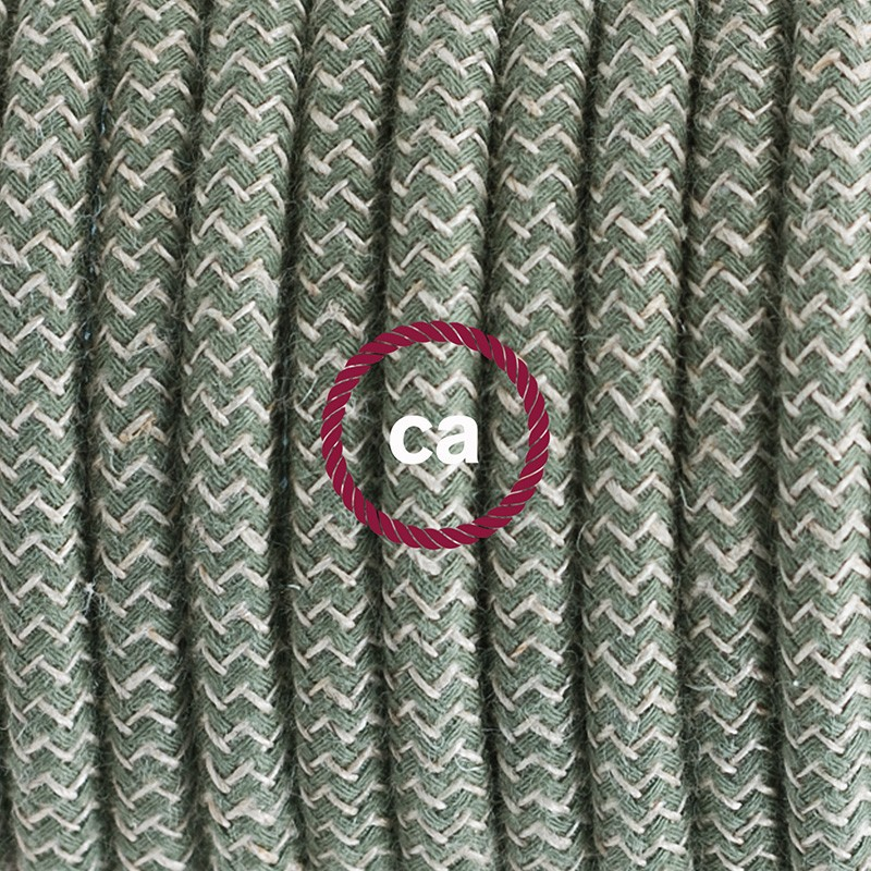 Pendel único, lámpara colgante cable textil ZigZag Verde Tomillo RD72