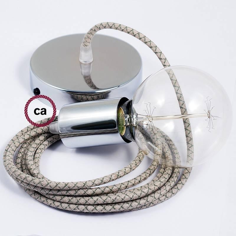 Pendel único, lámpara colgante cable textil Rombo Verde Tomillo RD62
