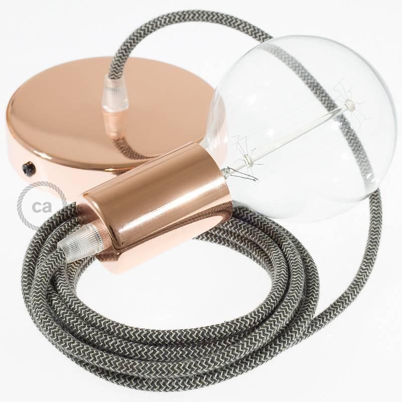 Pendel único, lámpara colgante cable textil ZigZag Antracita RD74