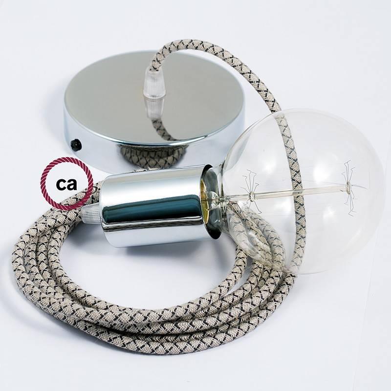 Pendel único, lámpara colgante cable textil Rombo Antracita RD64
