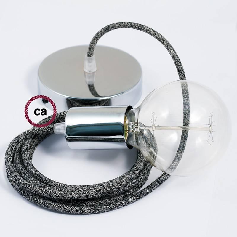 Pendel único, lámpara colgante cable textil Negro Glitter en Lino Natural RS81