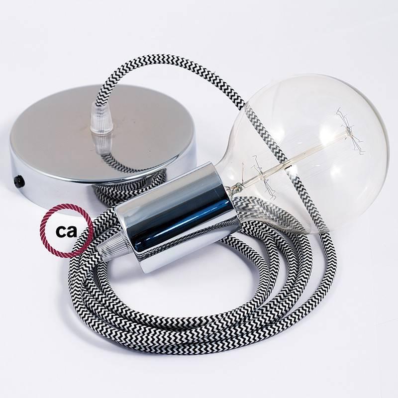 Pendel único, lámpara colgante cable textil ZigZag Negro RZ04