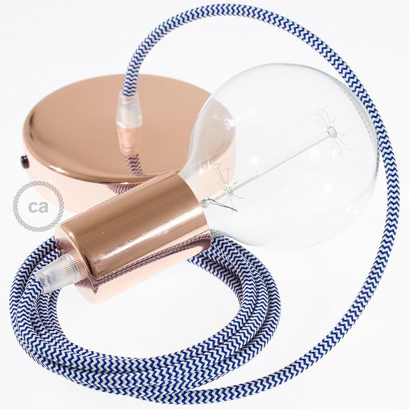 Pendel único, lámpara colgante cable textil ZigZag Azul RZ12